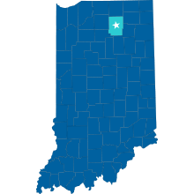 Map of Indiana with Kosciusko County Highlighted